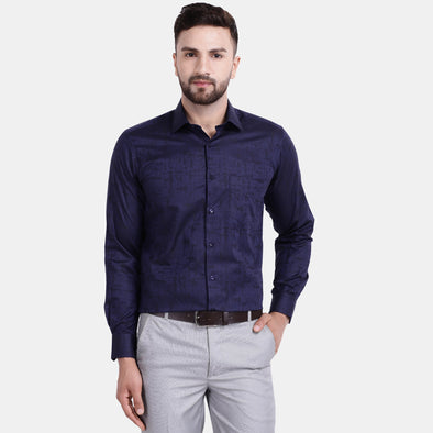 Men's PIMA Mercerised Subtle Textured Abstract Jacquard Design Regular Fit Shirt