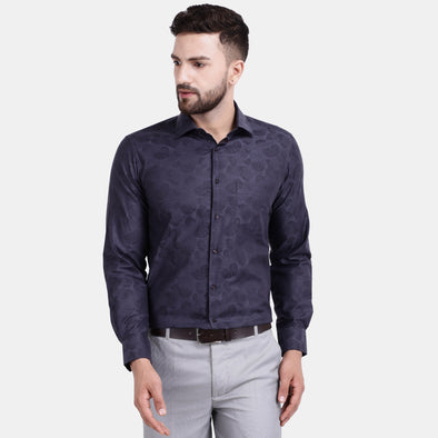 Men's PIMA Mercerised Subtle Textured Jacquard Design Regular Fit Shirt
