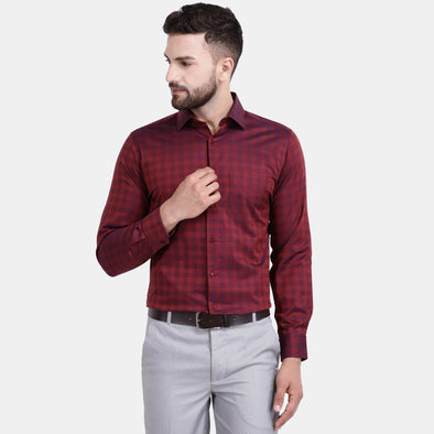 Men's PIMA Mercerised Checks Design Regular Fit Dress Shirt