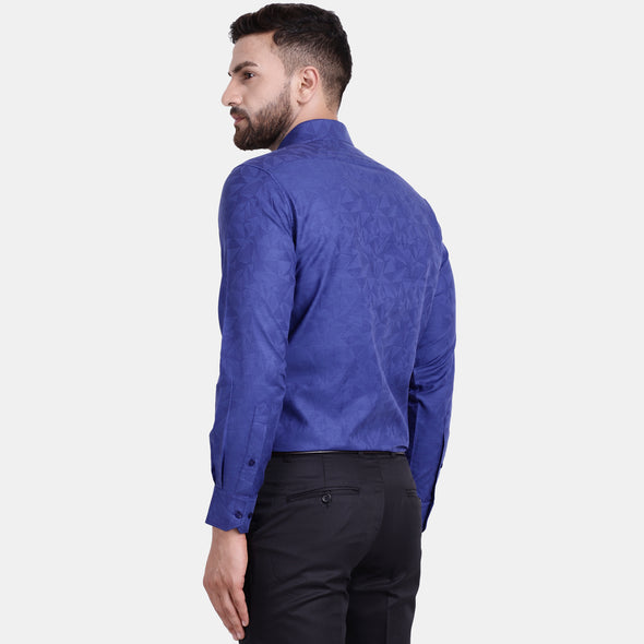 Men's PIMA Mercerised Abstract Textured Jacquard Design Regular Fit Shirt