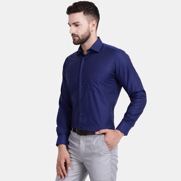 Men's PIMA Mercerised Subtle Circle Textured Jacquard Design Regular Fit Shirt