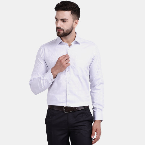 Men's PIMA Mercerised Abstract Pattern with Satin Textured Jacquard Design Regular Fit Shirt