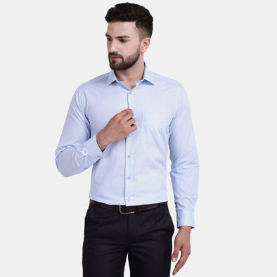 Men's PIMA Mercerised Pin Stripe Checks Jacquard Design Regular Fit Shirt
