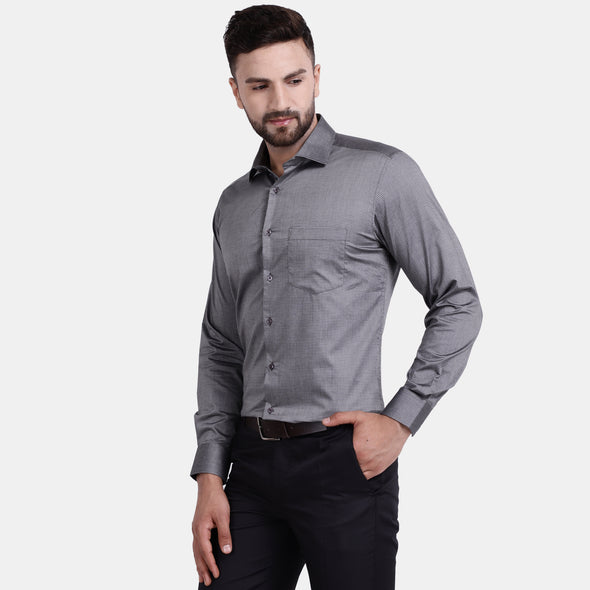 Men's PIMA Mercerised Twill Small Check Jacquard Design Regular Fit Dress Shirt