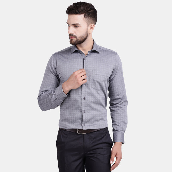 Men's PIMA Mercerised Textured Check Jacquard Design Regular Fit Dress Shirt