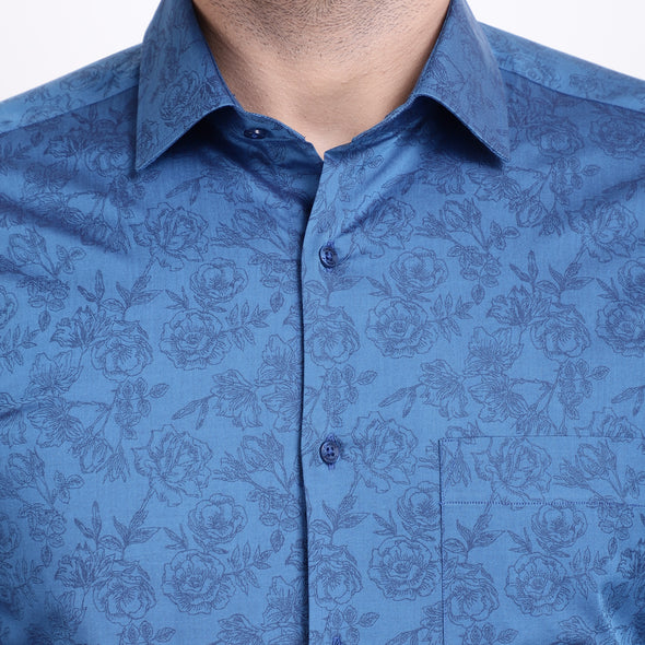 Men's PIMA Mercerised Floral Jacquard Design Regular Fit Shirt