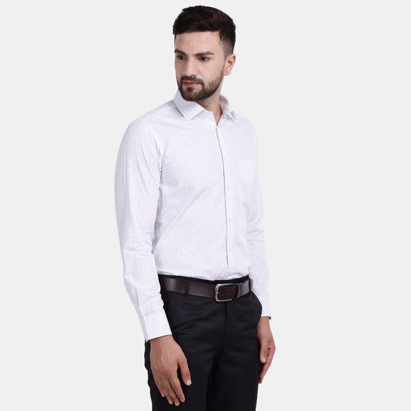 Men's PIMA Mercerised Small Broken Stripe Jacquard Design Regular Fit Dress Shirt