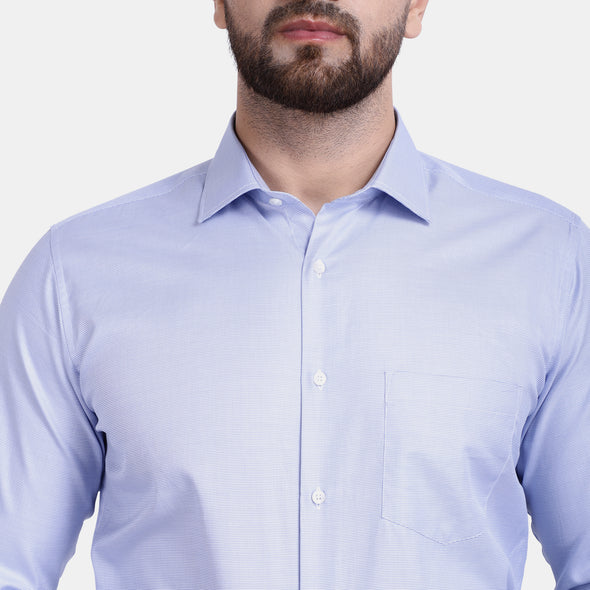 Men's PIMA Mercerised Bitone Design Regular Fit Dress Shirt