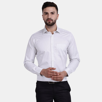 Men's PIMA Mercerised Verticle Pin Stripe Design Regular Fit Dress Shirt