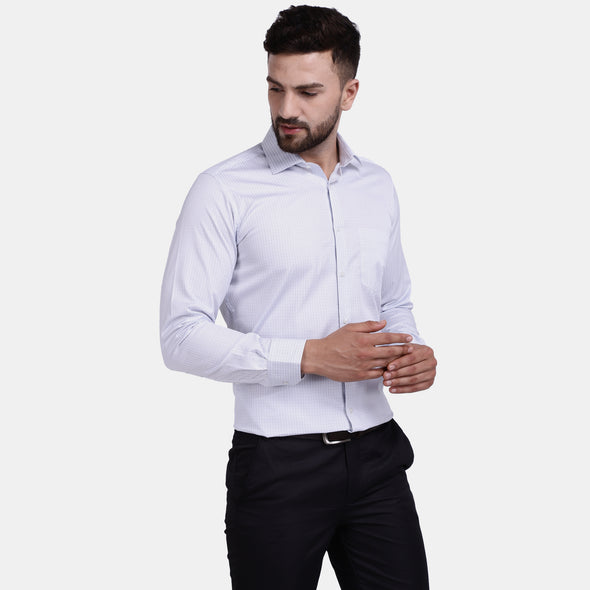 Men's PIMA Mercerised Small Check Jacquard Design Regular Fit Dress Shirt