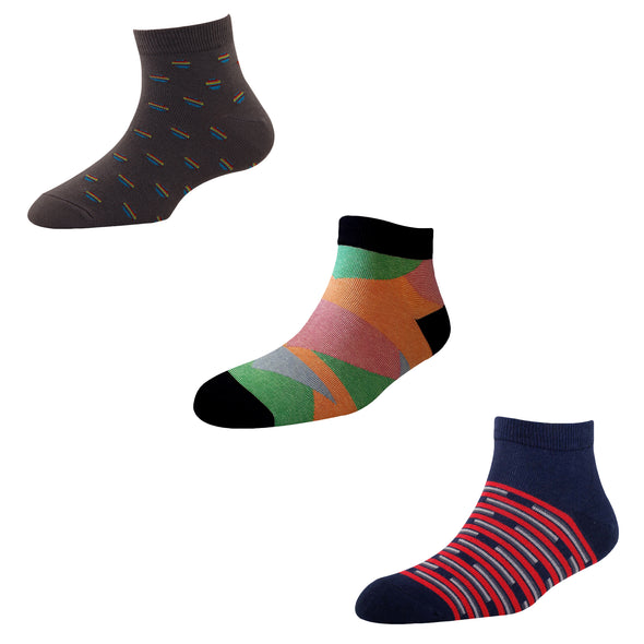 Men's AL06 Pack of 3 Cotton Fashion Ankle Socks