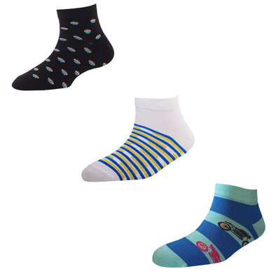 Men's AL07 Pack of 3 Cotton Fashion Ankle Socks