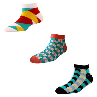 Men's AL05 Pack of 3 Cotton Fashion Ankle Socks