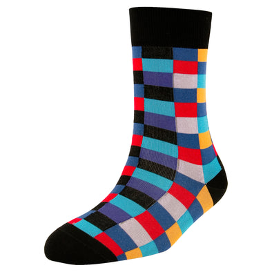 Men's High Fashion Coloured Square Blocks Socks