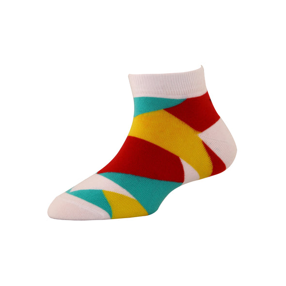 Men's YW-M1-233 Fashion Multi Colour Blocks Ankle Socks
