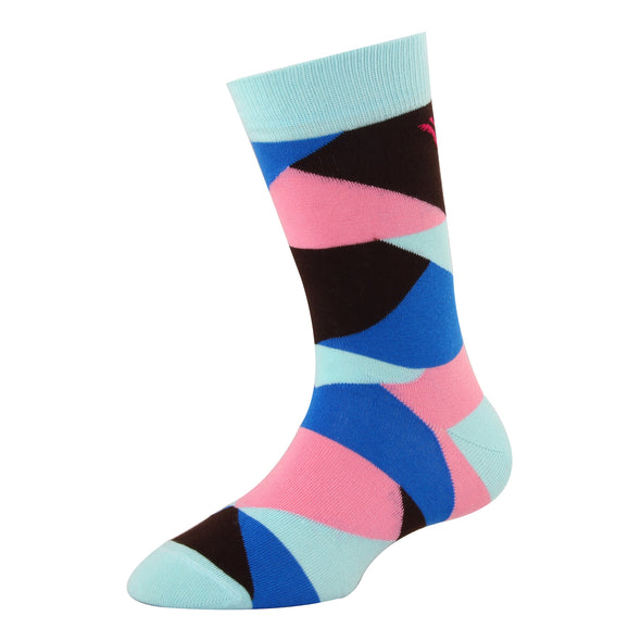 Men's YW-M1-317 Fashion Multi Colour Blocks Crew Socks