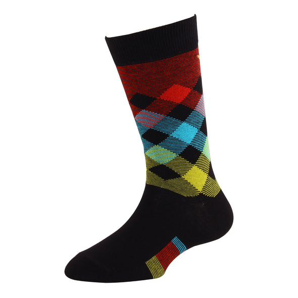 Men's YW-M1-318 Fashion Broken Argyle Crew Socks