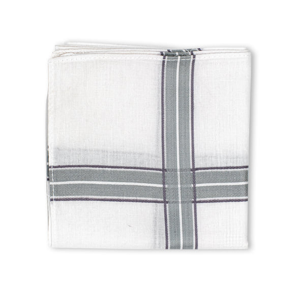 Men's Eminent Mercerised Cotton Handkerchief - White Stripe