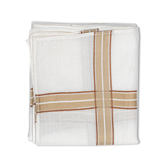Men's Eminent Mercerised Cotton 6 Piece Handkerchief Set - White Stripe