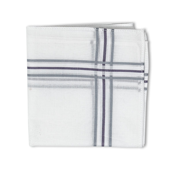 Men's Pristine Mercerised Cotton 3 Piece Handkerchief Set - White Stripe
