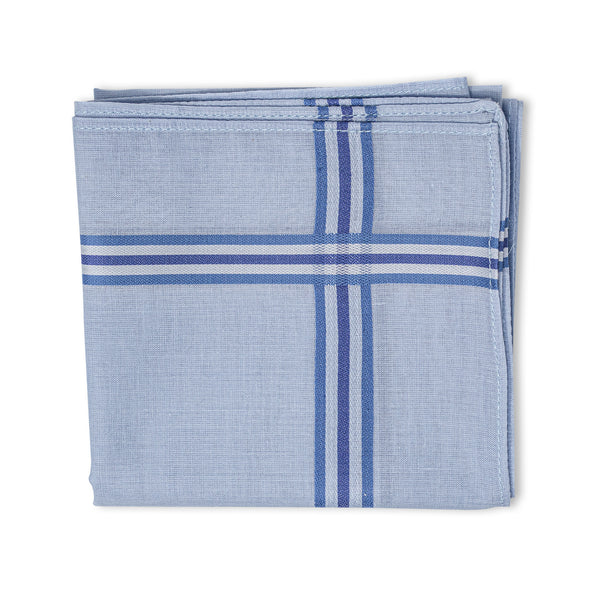 Men's Pristine Mercerised Cotton 3 Piece Handkerchief Set - Pastel Stripe