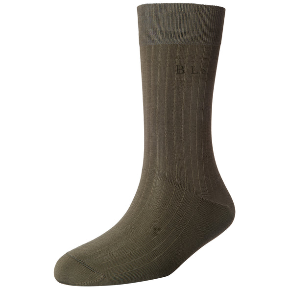 Men's Fine 6x1 Rib Monogram Socks