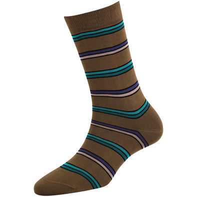 Women's Dark Grey Multi Stripe Socks