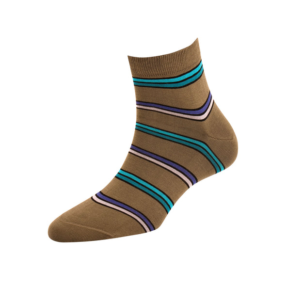 Women's Dark Grey Multi Stripe Ankle Socks
