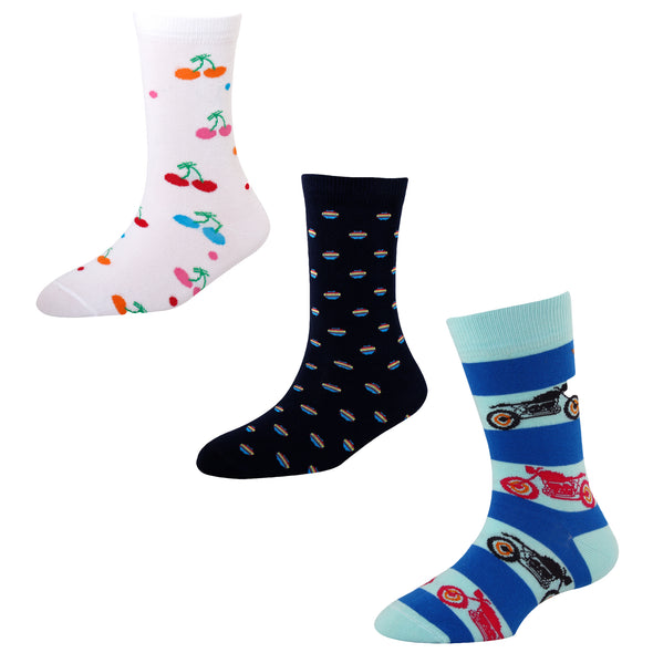 Men's FL09 Pack of 3 Cotton Fashion Crew Socks