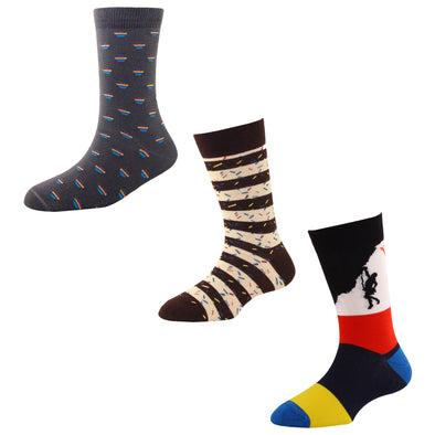 Men's FL010 Pack of 3 Cotton Fashion Crew Socks