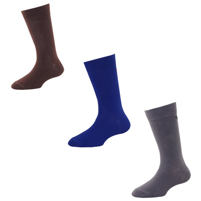 Men's FL012 Pack of 3 Cotton Solid Crew Socks