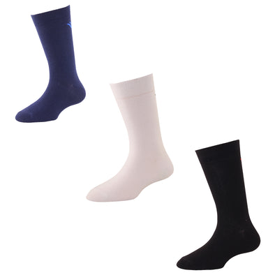 Men's FL013 Pack of 3 Cotton Solid Crew Socks