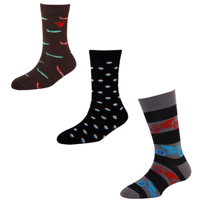Men's FL01 Pack of 3 Cotton Fashion Crew Socks