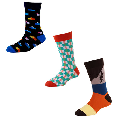 Men's FL014 Pack of 3 Cotton Fashion Crew Socks