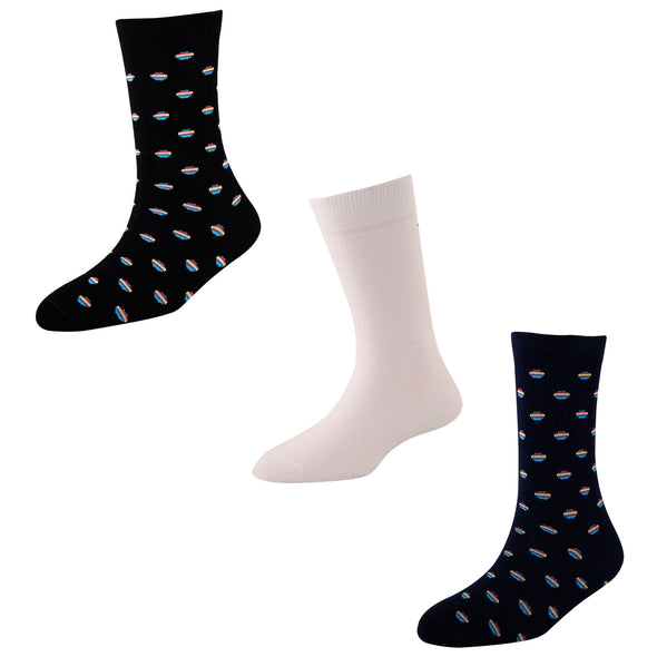Men's FL02 Pack of 3 Cotton Fashion Crew Socks