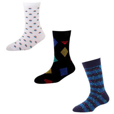 Men's FL03 Pack of 3 Cotton Fashion Crew Socks