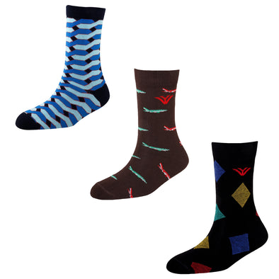 Men's FL06 Pack of 3 Cotton Fashion Crew Socks