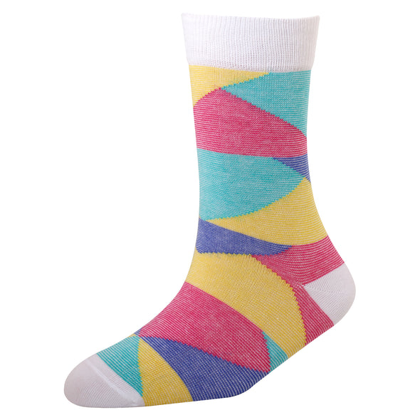 Men's YW-M1-326 Fashion Stripe Multi Blocks Crew Socks