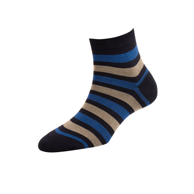 Women's Navy Stripe Ankle Socks