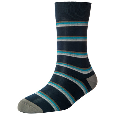 Men's Navy Stripe Socks