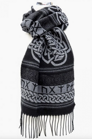Calzeat of Scotland Black & White Runic Carcant Celtic Jacquard Wool Scarf