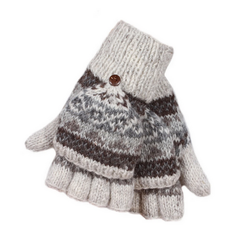 Sustainable Fair Trade Finisterre Natural Wool Light Grey Glove / Mittens
