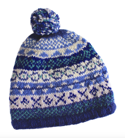 Pachamama Sustainable Fair Trade Finisterre Natural Wool Bobble Beanie Hat Denim Blue
