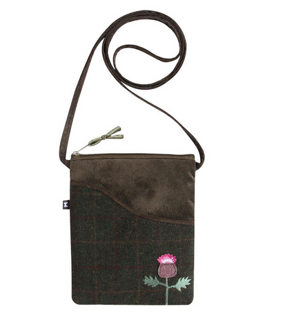 Earth Squared Green Brown Tweed Scottish Thistle Applique Cross Body Sling Handbag Purse