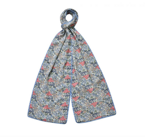 Earth Squared Blue, White/Pink Stem Flower Cotton Scarf