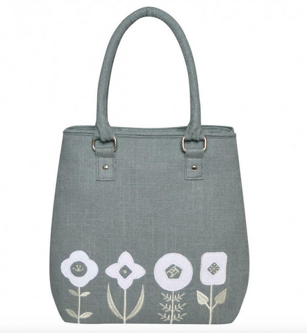 Earth Squared Grey Embroidery Applique Sophie Grab Bag Purse