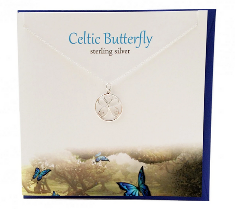 The Silver Studio Celtic Butterfly Necklace Pendant Card & Gift Set      £14.95