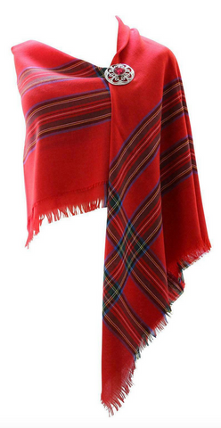 100% Pure Wool Authentic Traditional Scottish Border Shawl - Royal Stewart