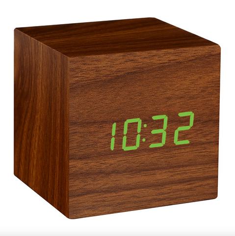 Gingko Walnut Brown With Green LED Dispay Square Cube Click Touch Travel Clock