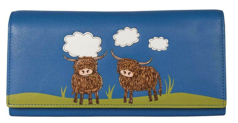 Blue 'Bella' Scottish Highland Cow Coo Flap Over Purse Wallet RFID Protection